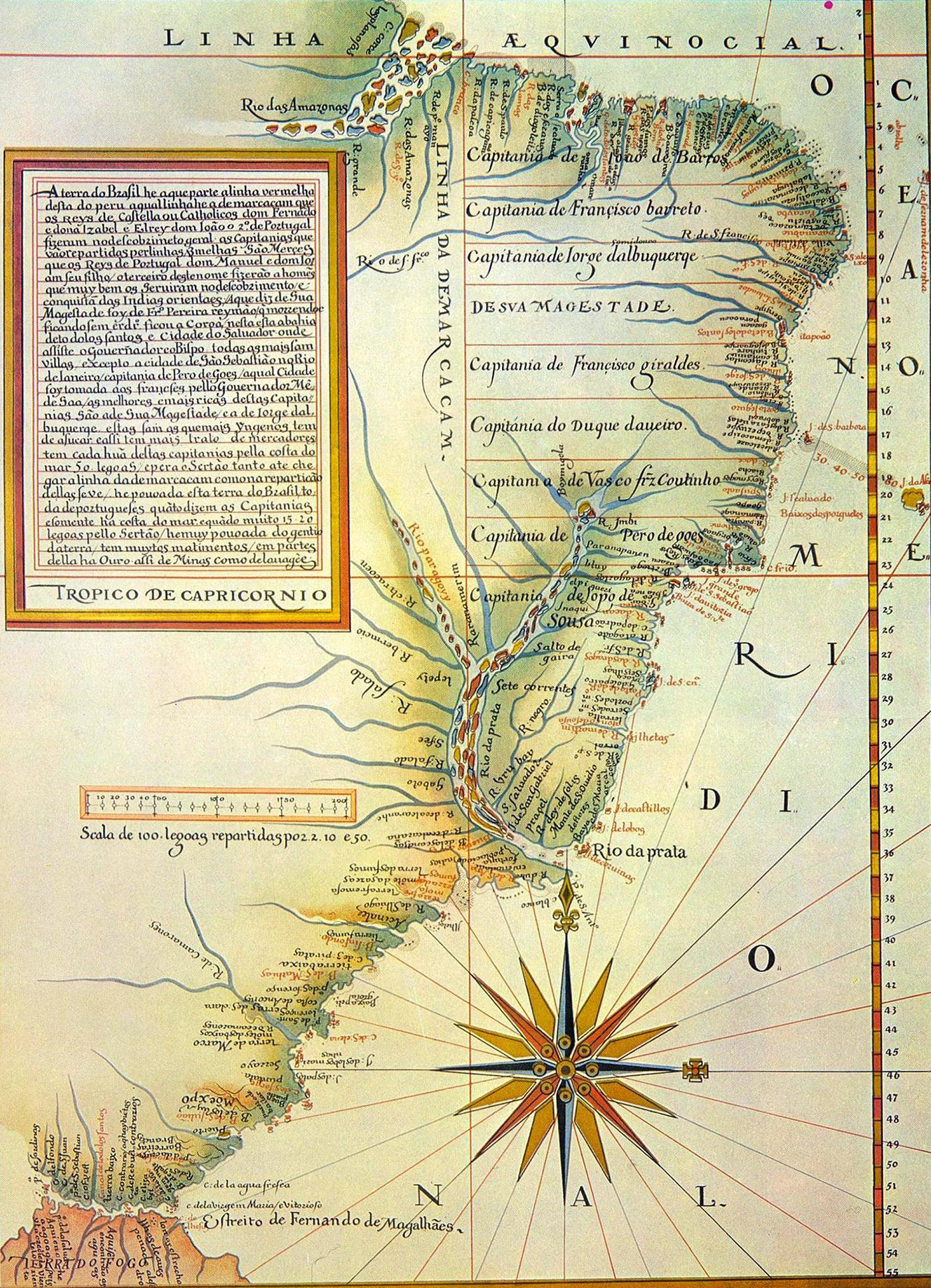 Linha De Tordesilhas Mapa De Luis Teixeira